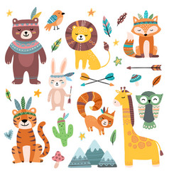funny tribal animals woodland baanimal cute vector image