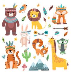 Funny tribal animals woodland baanimal cute vector