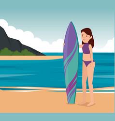 Girl practice surfing fitness activity vector