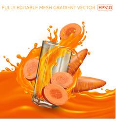 Glass with a splash vegetable juice among vector