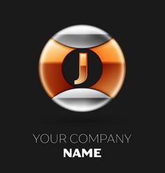 golden letter j logo in silver-golden circle vector image