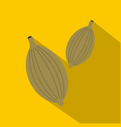 Green cardamom pods icon flat style vector