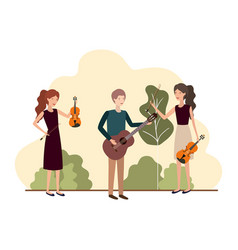 group people with musical instruments in vector image