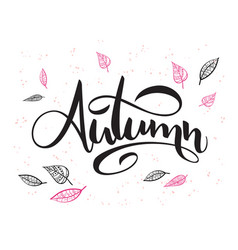 Hand lettering text about autumn with vector