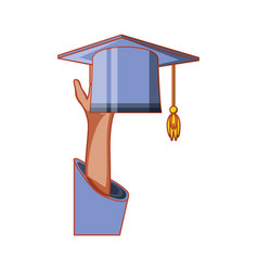 hand with hat graduation isolated icon vector image