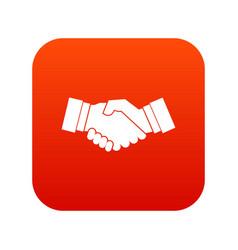handshake icon digital red vector image