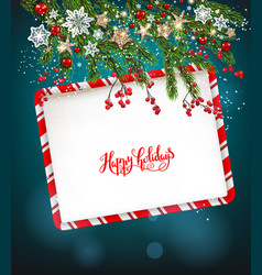 happy christmas invitation frame card vector image