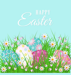 happy easter greeting card with eggs and flowers vector image