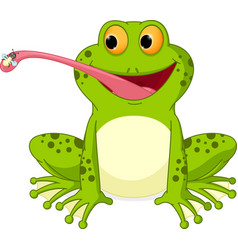happy frog cartoon catching fly vector image