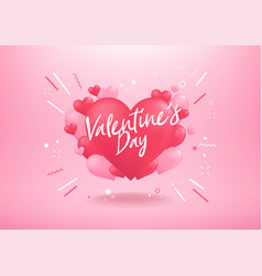 happy valentines day with heart balloon shape vector image