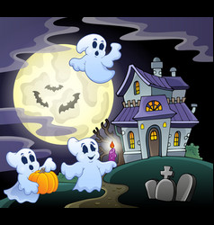haunted house theme image 3 vector image