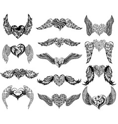 Hearts with wings tattoo set vector