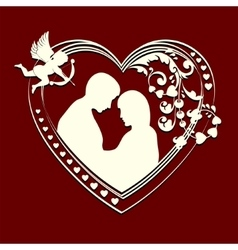 Inside the silhouette hearts couple vector image