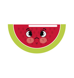 Kawaii nice surprised watermelon icon vector