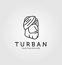 Line art turban minimalist logo design vector
