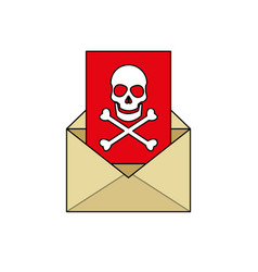Mail with virus icon image vector