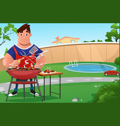 Man cooking bbq vector