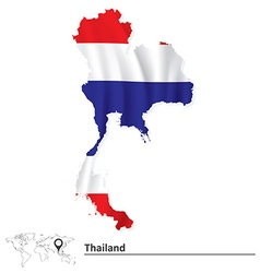 Map of thailand with flag vector