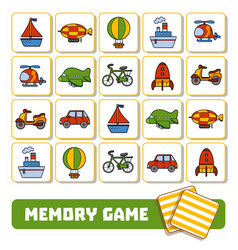 memory game for children cards with transport vector image