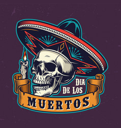 mexican day dead vintage label vector image