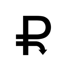 Modern concept ruble icon with down Arrow vector