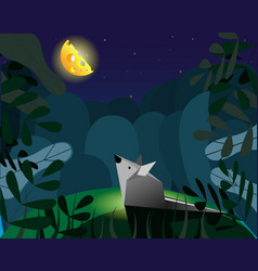 Mouse and imaginary cheese instead of the moon vector