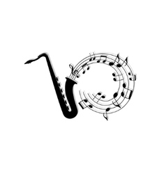 musical notes background with saxophone vector image