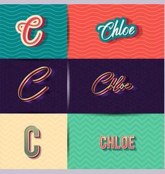 Name chloe in various retro graphic design vector