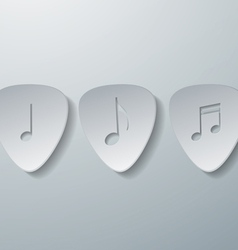 Notes with Guitar Picks White Paper Background vector image