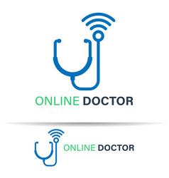 Online doctor logo template design on white vector