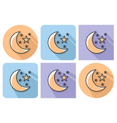outlined icon of crescent with stars clear night vector image