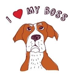 Pet dog love boss isolate on white vector image