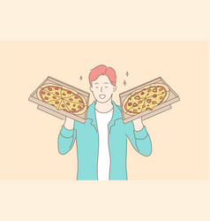 pizza food delivery happiness concept vector image