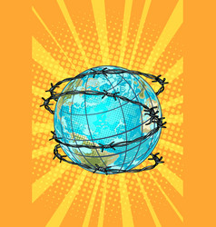 planet earth barbed wire vector image