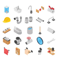plumber toilet bath shower isometric vector image