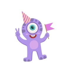 Purple Friendly Monster In Party Hat vector image