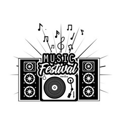 radio and speakers to music festival event vector image