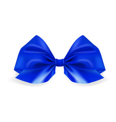 realistic blue bow ribbon on white background vector image