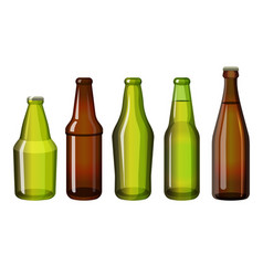 Realistic brown and green bottles of different vector