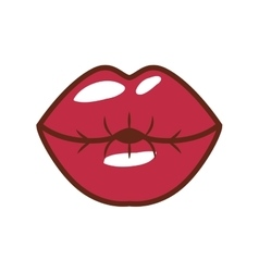 red lips giving kiss with shiny vector image