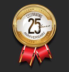 retro vintage style anniversary golden design 25 vector image
