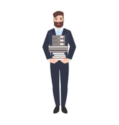 sad male office worker or clerk carrying stack of vector image