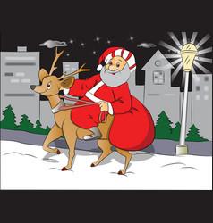 santa riding deer vector image