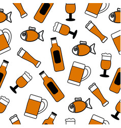 seamless background a set drinks beer and vector image