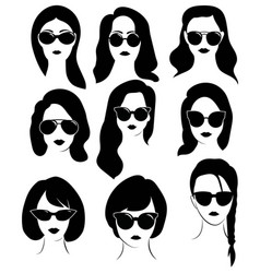 Set hairstyles for women with glasses vector
