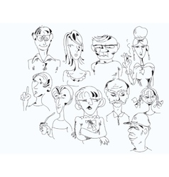 Set Of Drawn Characters vector image vector image