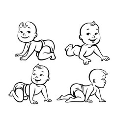 Set of funny babies vector