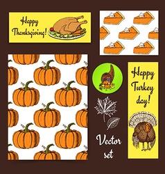 Sketch Thanksgiving set vector image