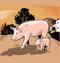 Sow with piglet vector