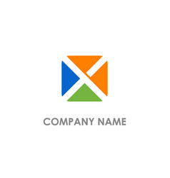square x initial colored logo vector image